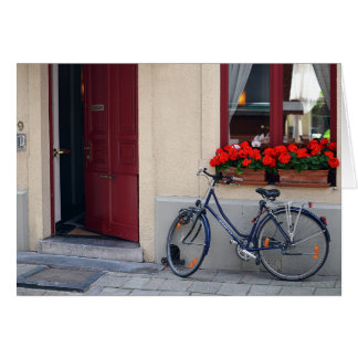 Bruges Open Door with Bicycle Card