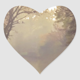 Bruges River Painting Heart Sticker