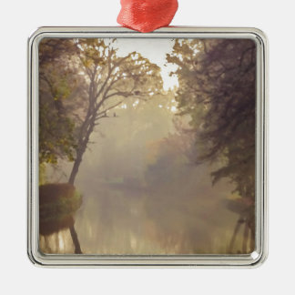 Bruges River Painting Silver-Colored Square Decoration