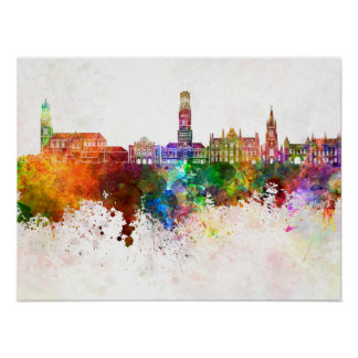Bruges skyline in watercolor background poster