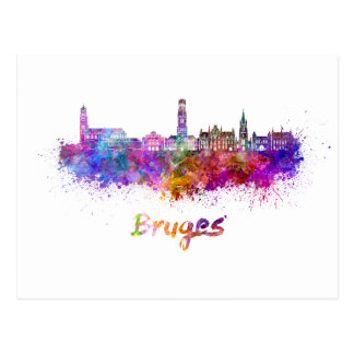 Bruges skyline in watercolor postcard