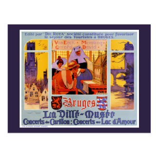 Bruges Vintage Travel Poster Restored Postcard