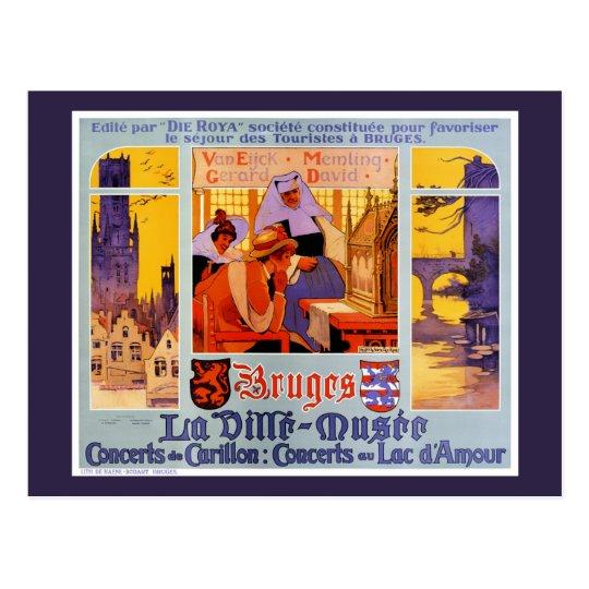 Bruges Vintage Travel Poster Restored Postcard