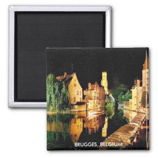 BRUGGE, BELGIUM SQUARE MAGNET