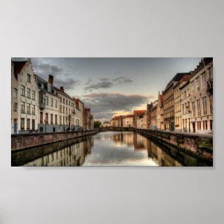 Brugge sunrise poster