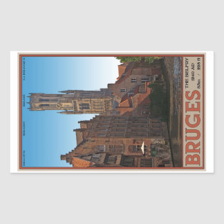 Brugge - The Belfry Rectangle Stickers