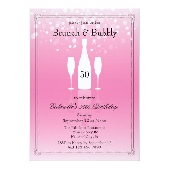 Brunch and Bubbly Birthday Invitation