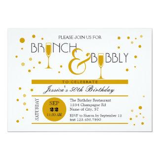 "Brunch and Bubbly Birthday Invitation 5"" X 7"" Invitation Card"