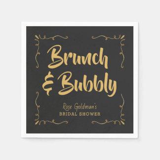 Brunch and Bubbly Bridal Shower Black Gold Disposable Napkin