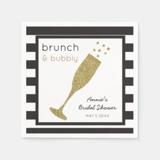 Brunch and Bubbly Faux Gold Glitter & Black Drink Disposable Serviettes