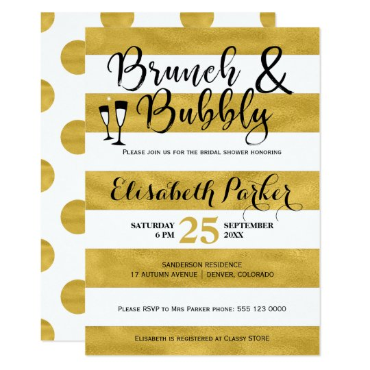 Brunch and bubbly white stripes gold bridal shower