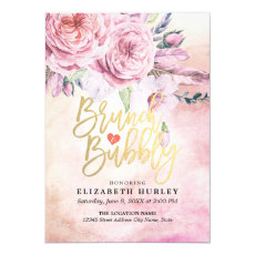 Brunch & Bubbly Bridal Shower Chic Floral Feathers Card