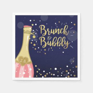 Brunch & Bubbly Bridal shower Paper Napkin Gold