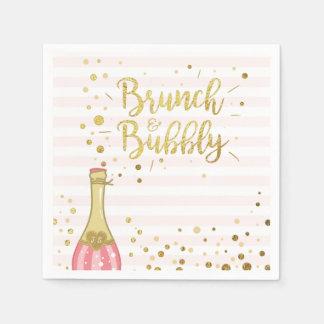 Brunch & Bubbly Bridal shower Paper Napkin Pink
