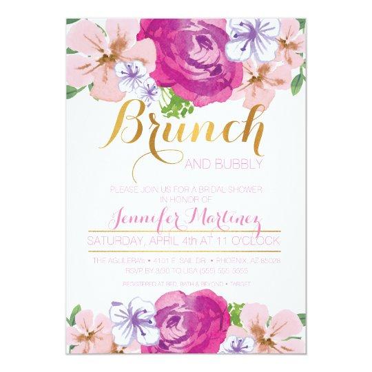 Brunch & Bubbly Floral Bridal Shower Card