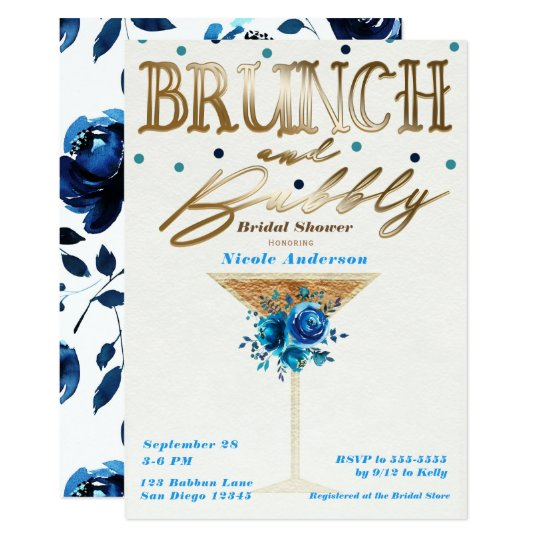 Brunch Bubbly Gold Teal Blue Floral Bridal Shower