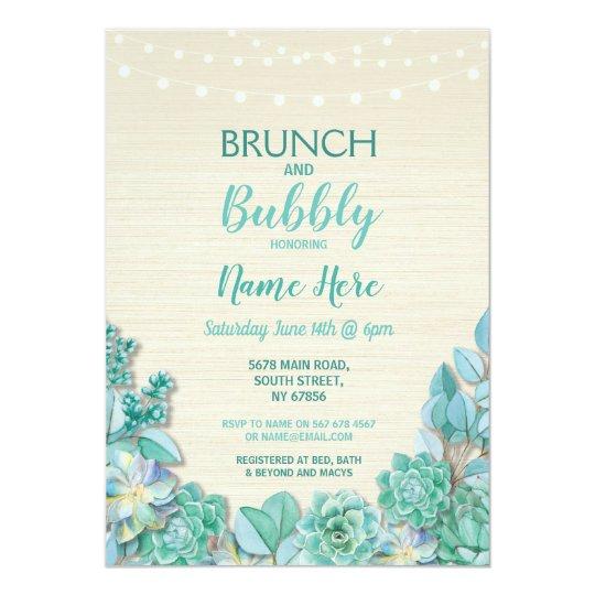 Brunch & Bubbly Succulents Bridal Shower Mint Card
