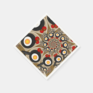 Brunch Fractal Art Funny Food, Tomatoes, Eggs Paper Napkin