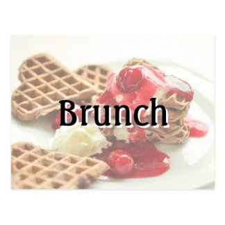 Brunch Heart Waffles Invite Postcard