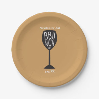 BRUNCH Wine Glass ANY COLOR & EVENT Party Plates 7 Inch Paper Plate