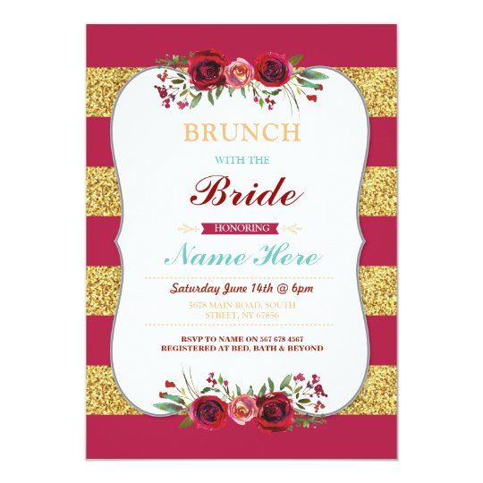 Brunch With The Bride Red Glitter Floral Invite