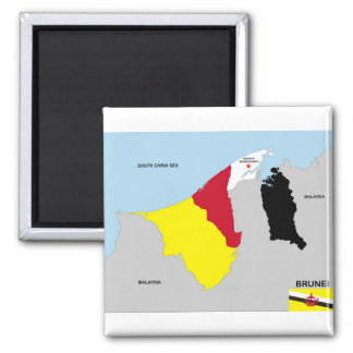 brunei country map flag square magnet