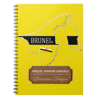 Brunei country outline Flag Colors Modern Notebook