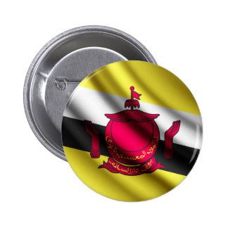 Brunei waving flag pinback button