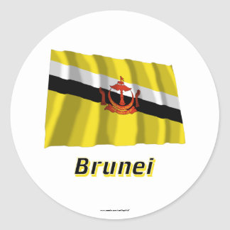 Brunei Waving Flag with Name Classic Round Sticker