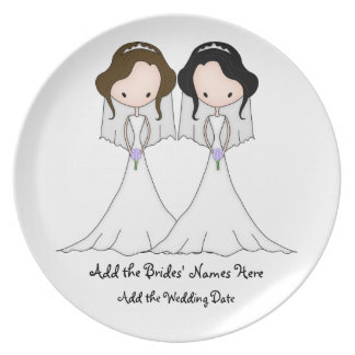 Brunette and Black Haired Brides Lesbian Wedding Plate