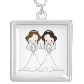 Brunette and Black Haired Brides Lesbian Wedding Silver Plated Necklace