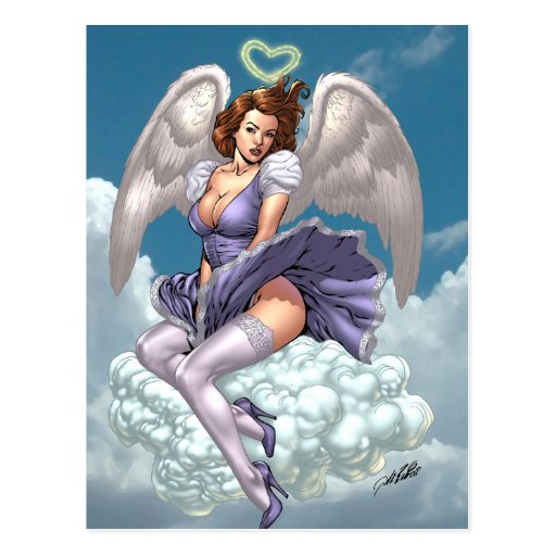 Brunette Angel Pinup with Heart Halo by Al Rio Post Cards