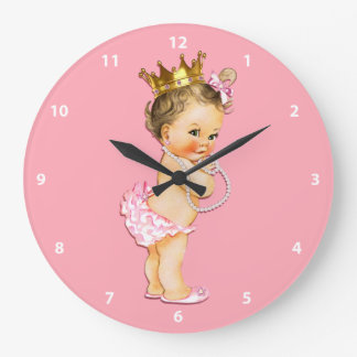 Brunette Baby Princess and Pearls Pink Large Clock