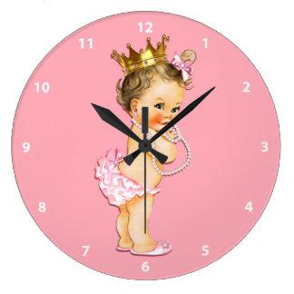 Brunette Baby Princess and Pearls Pink Wallclocks