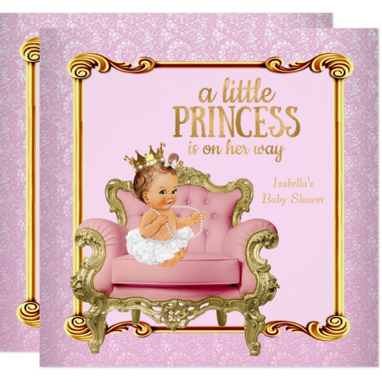 Brunette Baby Princess Baby Shower Pink Gold Chair