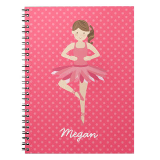 Brunette Ballerina on Pink Polka Dots Notebook