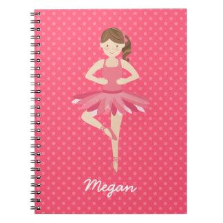 Brunette Ballerina on Pink Polka Dots Notebook