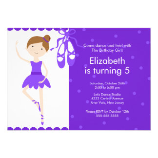 Brunette Ballet Dance Birthday Invitation Purple