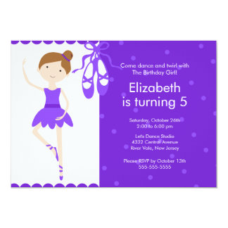 Brunette Ballet Dance Birthday Invitation Purple