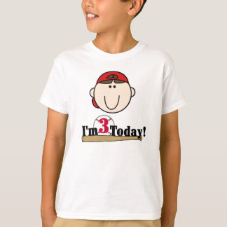 Brunette Baseball 3rd Birthday T-Shirt