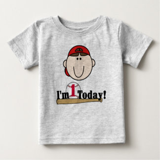 Brunette Baseball First Birthday Tee Shirts