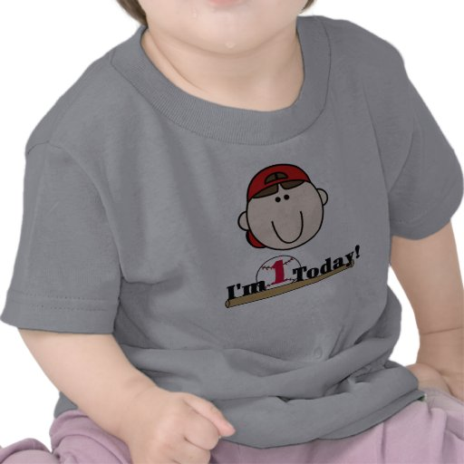 Brunette Baseball First Birthday Tshirt