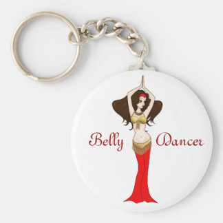 Brunette Bellydancer in Red and Gold Costume Basic Round Button Key Ring