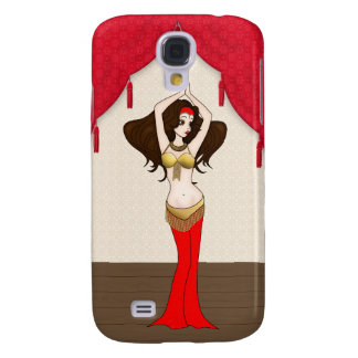 Brunette Bellydancer in Red and Gold Costume Galaxy S4 Cases