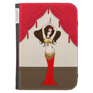 Brunette Bellydancer in Red and Gold Costume Kindle Folio Cases