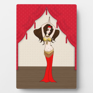 Brunette Bellydancer in Red and Gold Costume Display Plaques