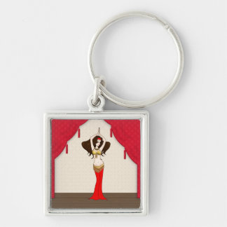 Brunette Bellydancer in Red and Gold Costume Silver-Colored Square Key Ring