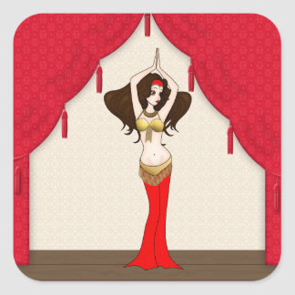 Brunette Bellydancer in Red and Gold Costume Square Sticker
