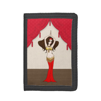 Brunette Bellydancer in Red and Gold Costume Tri-fold Wallet