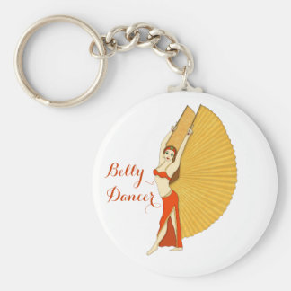Brunette Bellydancer with Gold Isis Wings Basic Round Button Key Ring